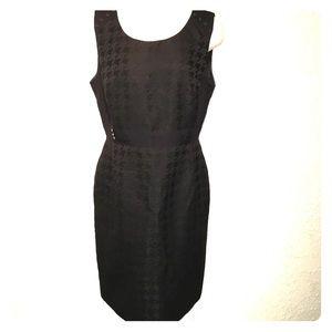 Tahari Black Houndstooth Sheath Dress